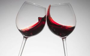 Red Wine in Glasses Toasting